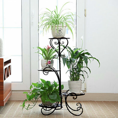 4 Tier Metal Plant Pot Stand Flower Display Shelf Garden Balcony Outdoor Indoor