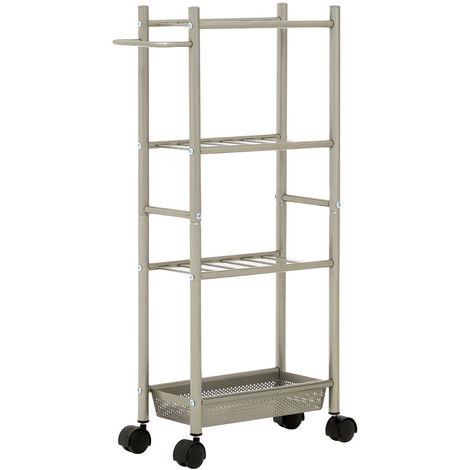 4 Tier Metal Trolley Basket with Towel Rail and Basket - Nickel