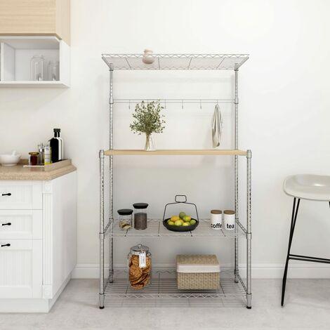 4-Tier Microwave Oven Shelf 90x35x150 cm Chromed Iron