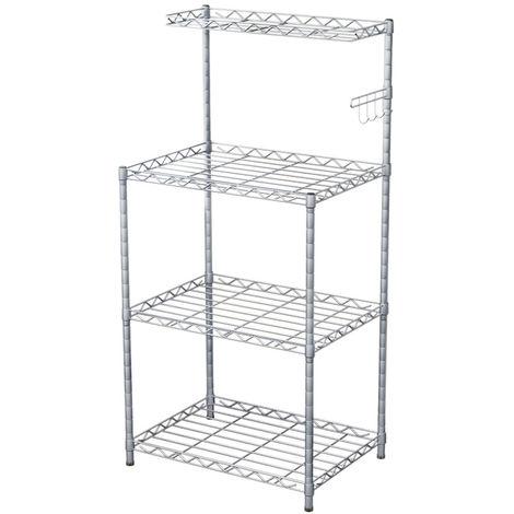 4 Tier Microwave Rack Storage Shelf White