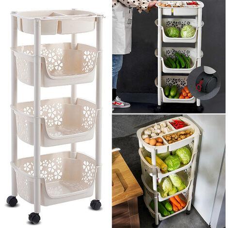 4 Tier Mobile Vegetable Rack Fruit Storage Kitchen Utility Stacking Basket Shelf