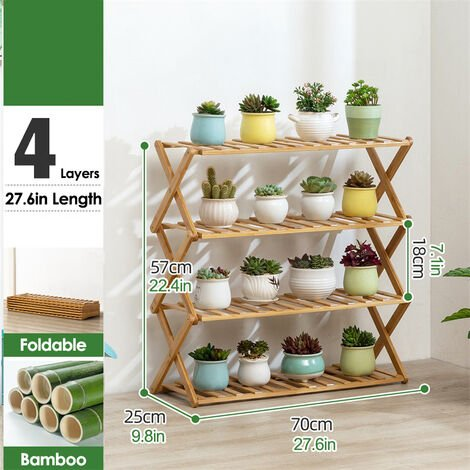 4 Tier Plant Shelf 70cm Bamboo Plant Holder Home Flower Display Stand