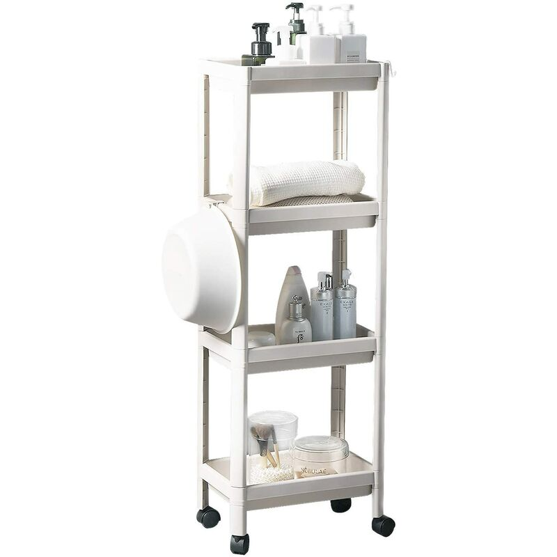 Briday - 4-Tier Rolling Storage Cart, Utility Cart, Shelf Unit with Wheels and Hooks, Standing Shelves for Kitchen Bathroom Living Room Bedroom