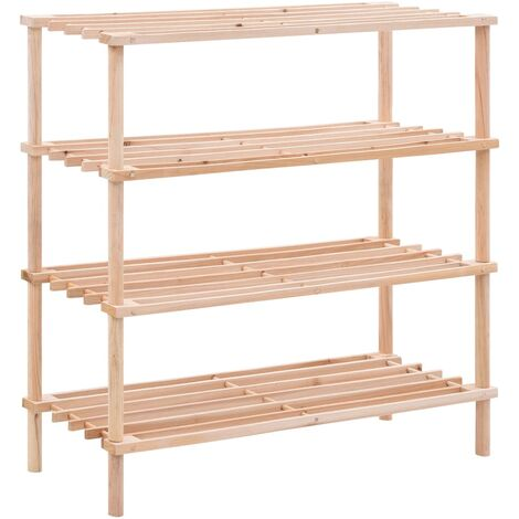 4-Tier Shoe Rack Solid Fir Wood