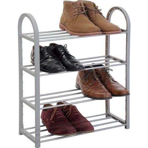 4 TIER SHOE STAND STORAGE ORGANISER RACK LIGHTWEIGHT COMPACT TRAINERS BOOTS NEW