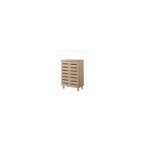 4 Tier Shoe Storage Cabinet 2 Door Cupboard Stand Rack Unit Sonoma Oak