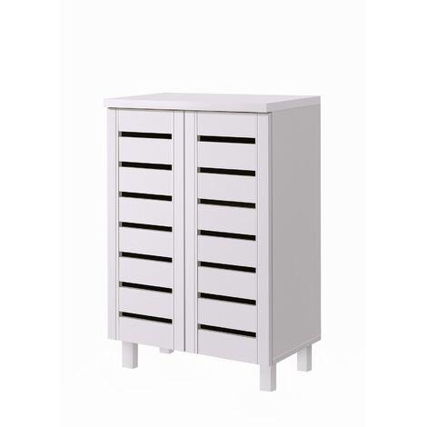 4 Tier Shoe Storage Cabinet 2 Door Cupboard Stand Rack Unit White