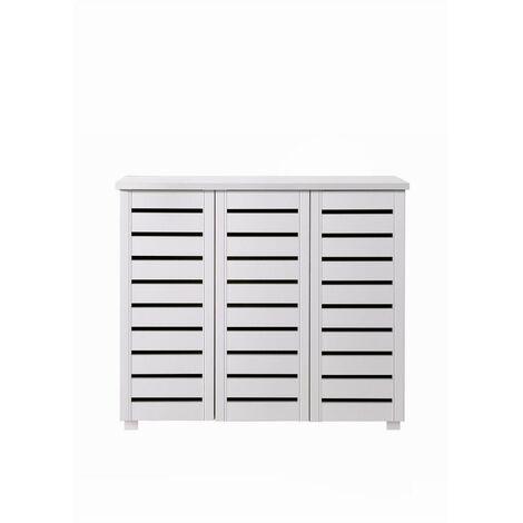4 Tier Shoe Storage Cabinet 3 Door Cupboard Stand Rack Unit White