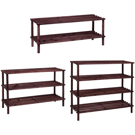 4 Tier Slated Shoe Rack, Dark Oak