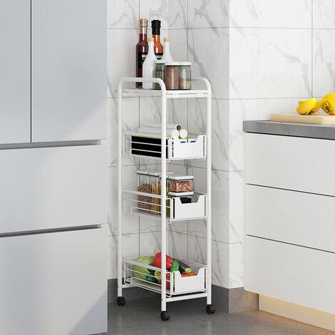 4 Tier Slide Out Fruit Vegetable Basket Rack Kitchen Slim Corner Storage Unit