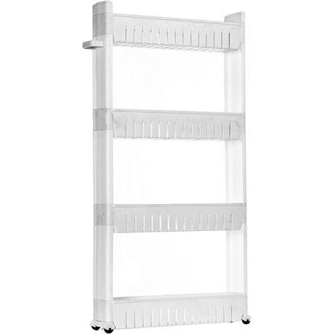 4 Tier Slim Slide Out Kitchen Bathroom Thin Trolley Cart Rack Holder Storage Shelf Organization white