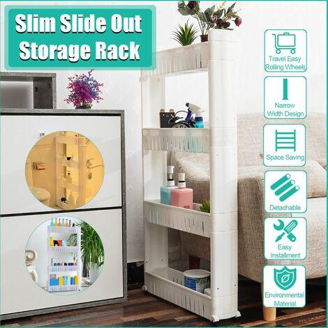 4 Tier Slim Sliding Kitchen Bathroom Slim Trolley Trolley Storage Organizer Rack Holder Rack (White)