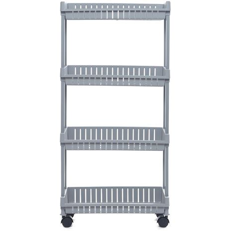 4 Tier Slim Trolley Cart Storage Holder Slide Out Kitchen Bathroom Shelf