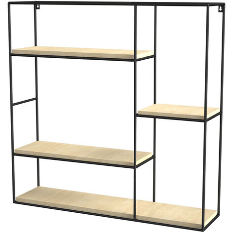 4 Tier Square-shaped Floating Wall Display Shelves Book/DVD Storage