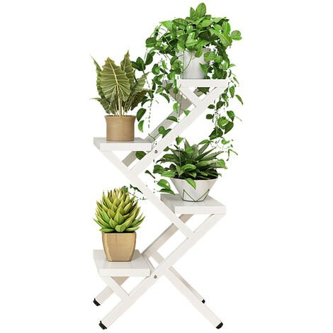 4 Tier Steel Wood Plant Stand Planter Flower Pot Shelf Balcony Holder Rack Decor