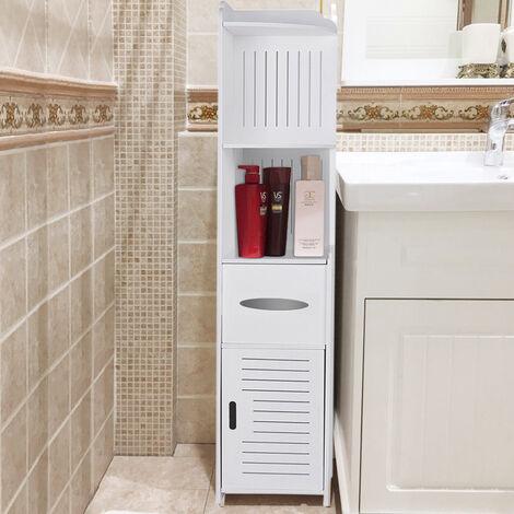 "main image of ""4 Tier White Bathroom Cabinet Corner Cupboard Storage Shelf"""