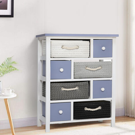 4 Tier Wood Drawer Cabinet Tools Storage Cupboard w/ Baskets Closet Shoe Stand