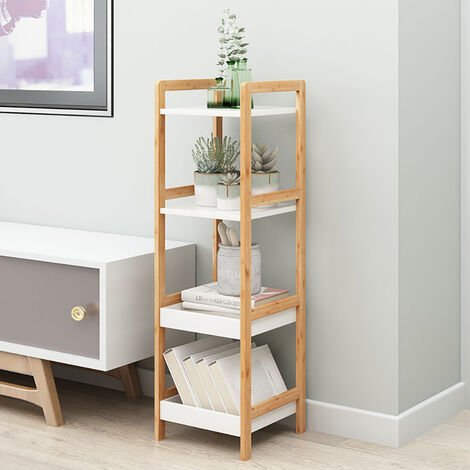 4 Tier Wood Square Shelving Storage Bookshelf Display Stand