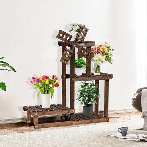 4 Tier Wooden Plant Stand Flower Rack Display Shelf 5 Pots Planter Garden Home