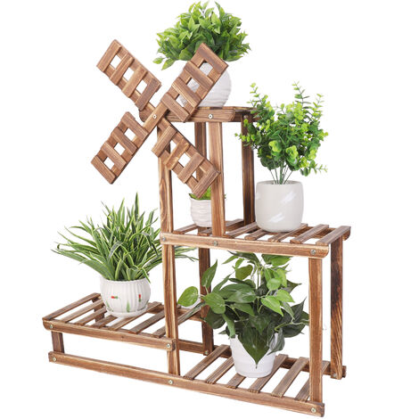 4 Tiers Flower Rack Wood Plant Stand Bonsai Display Shelf With Dutch Windmill