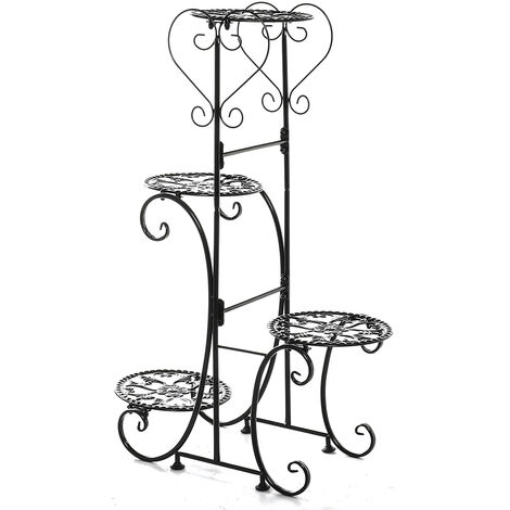 4 Tiers Holder Metal Plant Pot Stand Flower Display Patio Garden Home 24.5*41*81.4cm black Round Racks