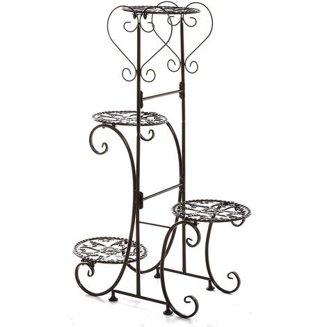 4 Tiers Holder Metal Plant Pot Stand Flower Display Patio Garden Home 24.5*41*81.4cm coffee Round Racks