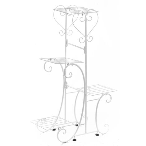 4 Tiers Holder Metal Plant Pot Stand Flower Display Patio Garden Home 24.5*41*81.4cm white Square Racks