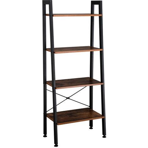 4 Tiers Industrial Ladder Shelf, Vintage Bookshelf, Storage Rack Shelf for Office, Bathroom, Living Room