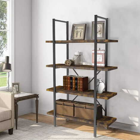 4 Tiers Industrial Metal Bookshelf Ladder Shelving Rack Wood Storage Organizer, Heavy Duty Wood Shelf