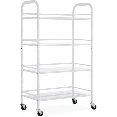 6659836241e7 4 Tiers Kitchen Rolling Cart Utility Trolley with Casters and ...