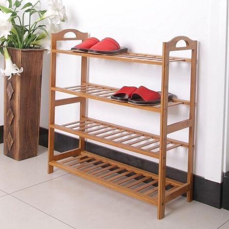 4 Tiers Layers Bamboo Shoe Rack Storage Organizer Wooden Shelf Stand Shelves