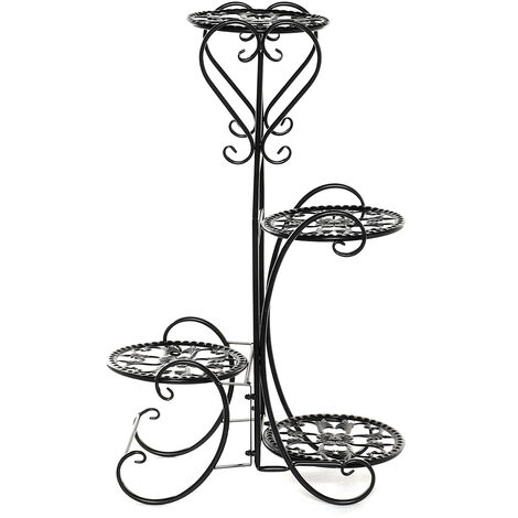 4 Tiers Metal Plant Stand Flower Pot Rack Holder 46*26*81cm black