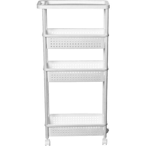4 Tiers Slim Slide Out Kitchen Bathroom Thin Storage Trolley Cart Rack Holder White