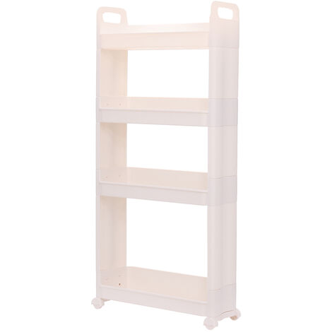4 Tiers Slim Slide Out Thin Trolley Cart Rack Holder with Wheels White