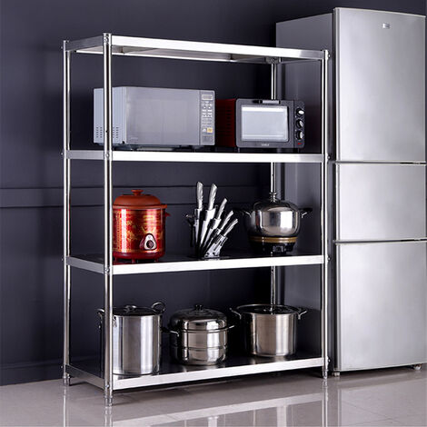 4 Tiers Stainless Steel Kitchen Shelving Unit Diaplay Storage Racking Stand