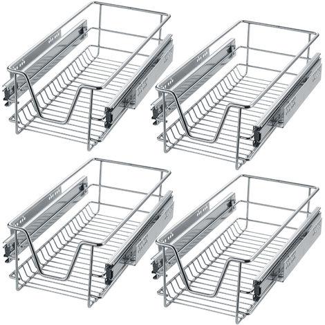 4 tiroirs de rangement téléscopiques - lot de 4 tiroirs, tiroirs coulissants cuisine, paniers coulissants cuisine - 27 cm