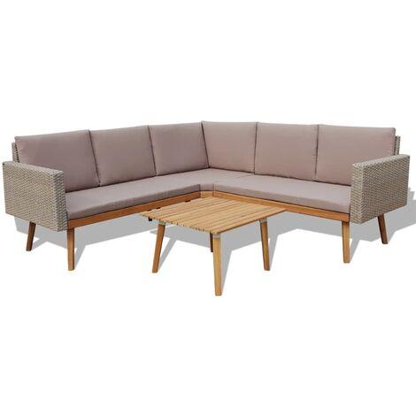 4 tlg garten lounge set mit auflagen poly rattan grau. Black Bedroom Furniture Sets. Home Design Ideas