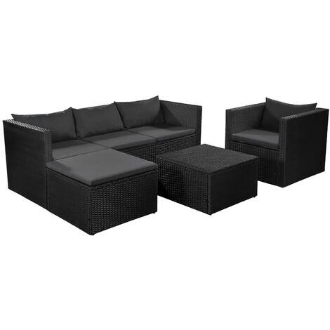 4-tlg. Garten-Lounge-Set Poly Rattan Schwarz und Grau