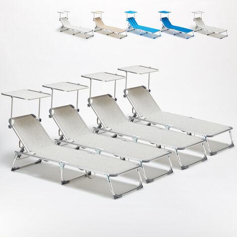 4 transats chaises pour la mer pliants avec paresol California