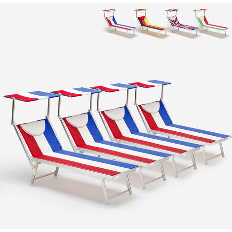 4 transats de plage chaises longues professionnels en aluminium Santorini Europe