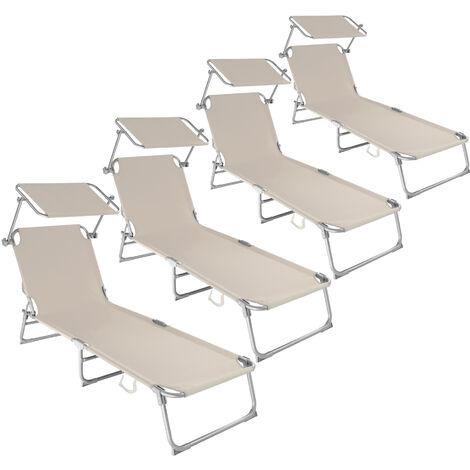 4 tumbonas con 4 posiciones - tumbona de jardín plegable, mueble para patio con respaldo ajustable, asiento de terraza impermeable