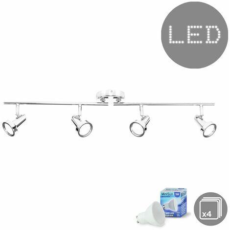 4 Way Adjustable Ceiling Light Spotlight Bar In Chrome + 4 x Gu10 Cool White LED Bulbs