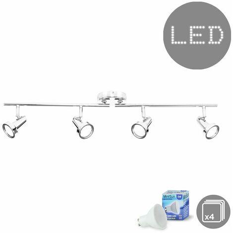 4 Way Adjustable Ceiling Light Spotlight Bar In Chrome + 4 x Gu10 Warm White LED Bulbs