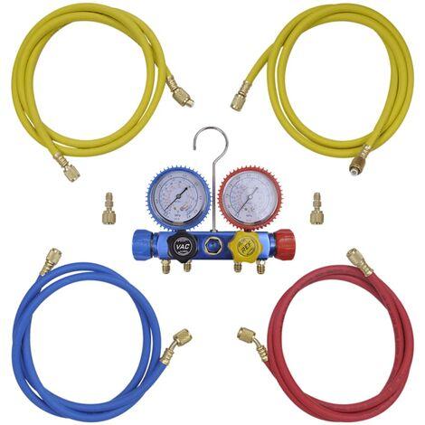 vidaXL 4-way Manifold Gauge Set for Air Conditioning Inspecting Sensor Tool