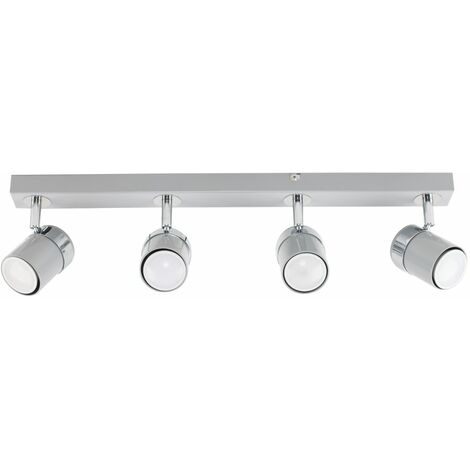 4 Way Straight Bar Ceiling Spotlight + 5W LED GU10 Light Bulbs - Grey & Silver - Grey