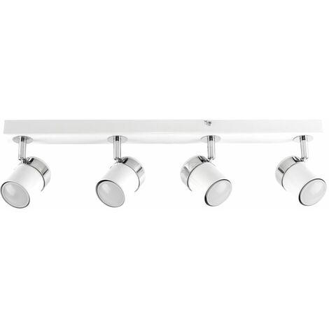 4 Way Straight Bar Ceiling Spotlight Fitting in White + 5w GU10 LED Bulbs - Cool White