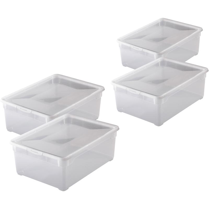 4 x 10 L Rotho Clear Box Deckel Schuhe Aufbewahrungsbox 36,5x26,5x14cm