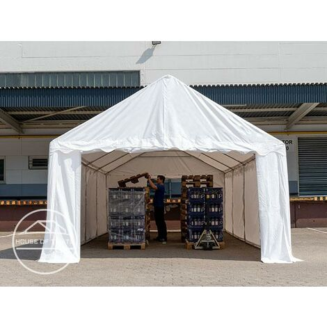 4 x 10 m Heavy Duty PVC Storage Tent with GROUNDBAR Shed Temporary Shelter Fabric Warehouse Building with Galvanized Steel Construction in white