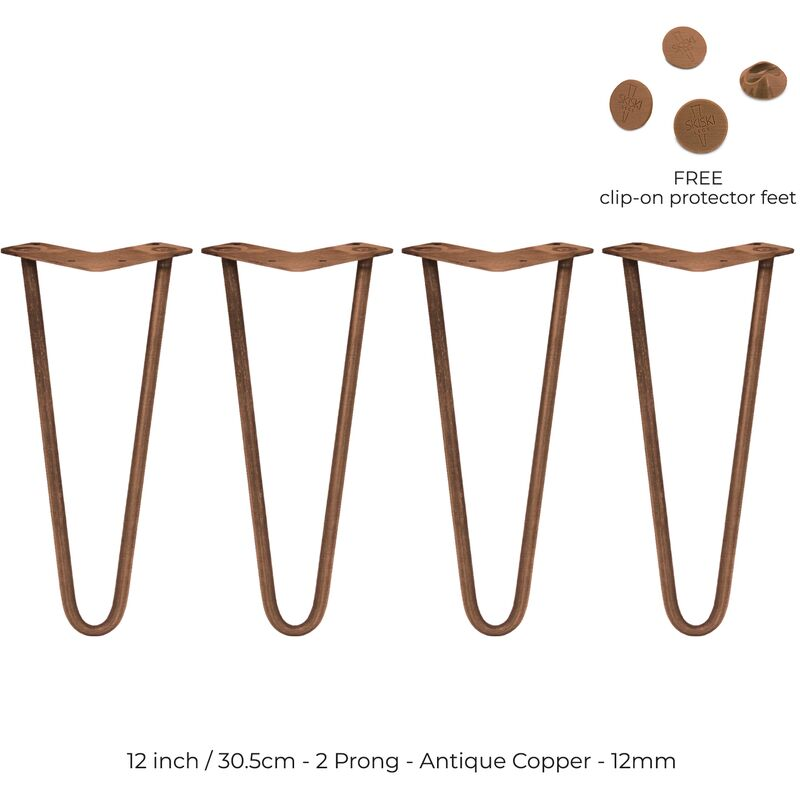 Image of 4 x 12' Hairpin Legs - 2 Prong - 12mm - Antique Copper