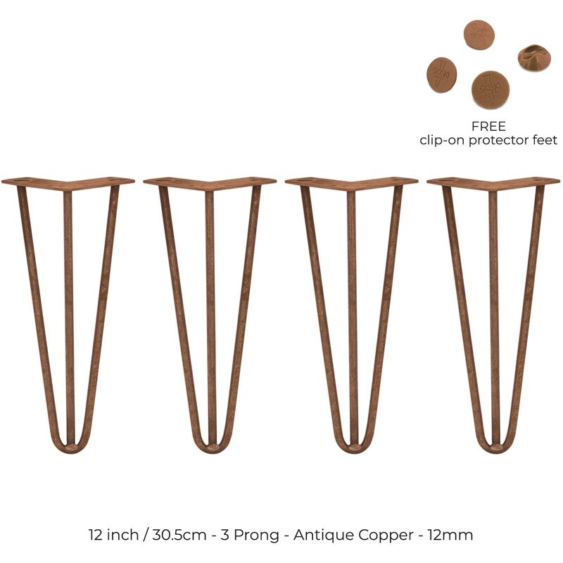 Image of 4 x 12' Hairpin Legs - 3 Prong - 12mm - Antique Copper